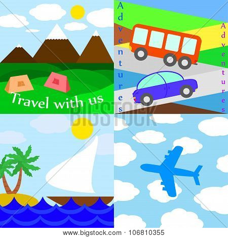 Set Of Travelling Illustrations