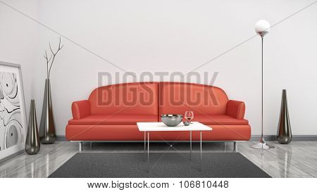 3d interior render image of a red sofa in a white room with space for your content