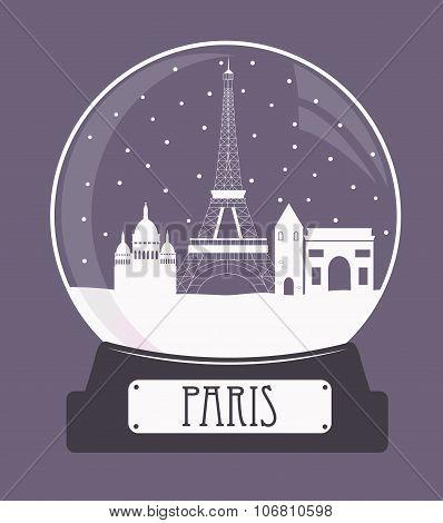 Paris Christmas Glass Ball
