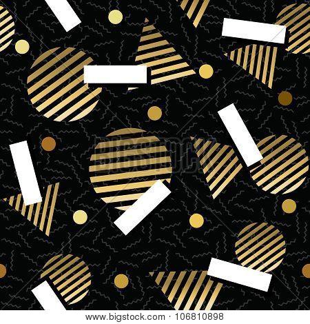 Gold Retro Vintage 80S Geometry Seamless Pattern