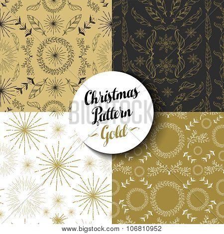 Merry Christmas Pattern Set Gold Nature Holiday