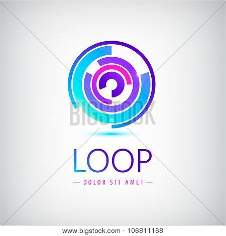 Vector abstract colorful shiny modern logo, icon. Loop sign, web site