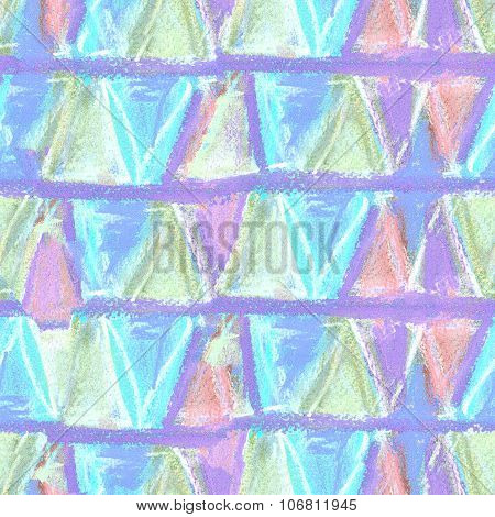 Abstract Color Pastel Seamless Pattern In Primitive Style.
