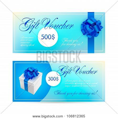Vector set of blue gift vouchers with ribbons