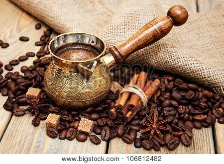 Coffee In A  Metal Turk