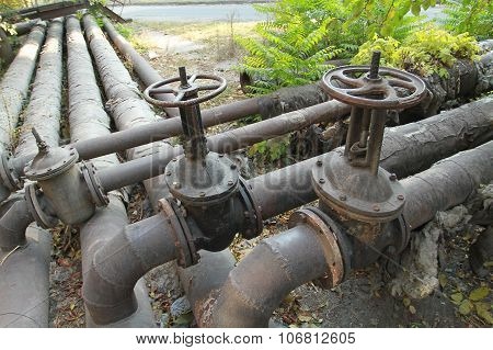 Big Old Pipes With Valves Utilities. Heating Systems Heating Plant