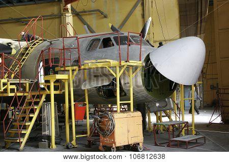 Ukraine, Kiev Repair Plant, 2015. Overhaul Of Aircraft In The Hangar.