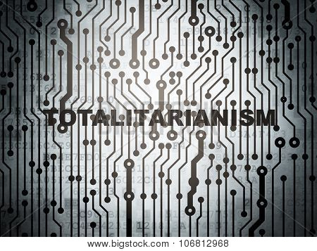 Political concept: circuit board with Totalitarianism