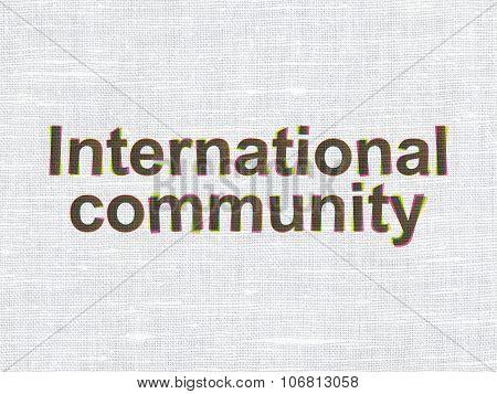 Politics concept: International Community on fabric texture background