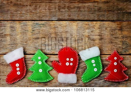 Wood Background With Homemade Fleece Toys