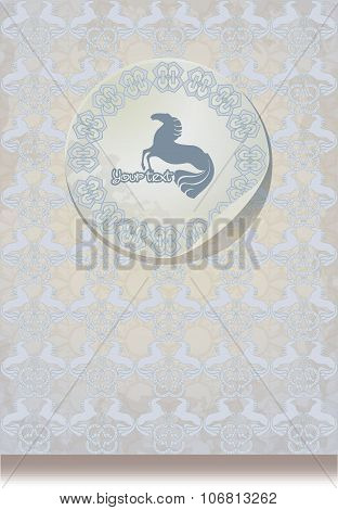 Vintage  Leaflet Paper With A Horses Silhouette Blue