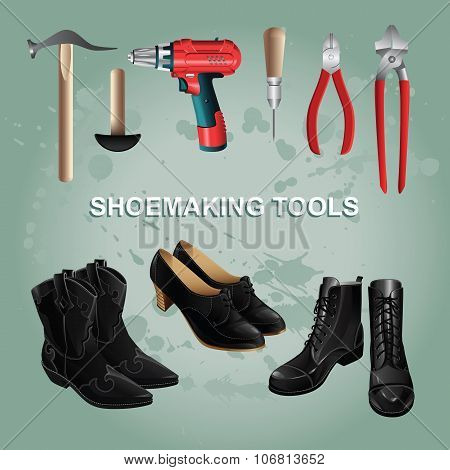 Shoemaking tools. Black boots and shoes.