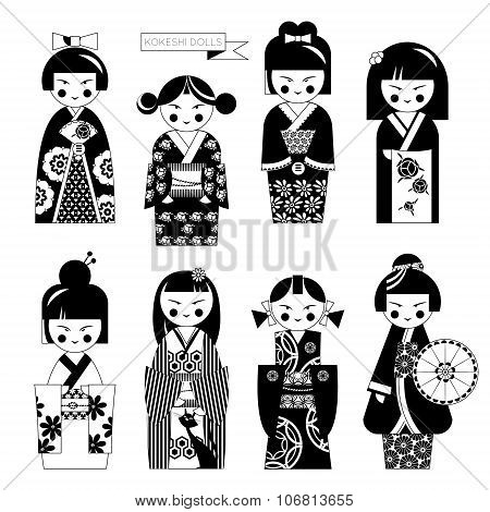 Traditional Japanese Doll. Kokeshi Dolls. Black And White.