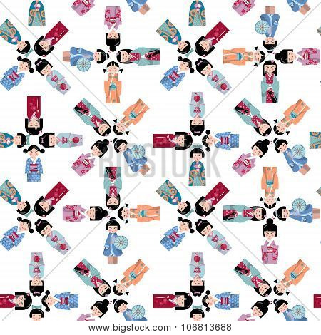 Traditional Japanese Doll. Kokeshi Dolls. Seamless Background Pattern.