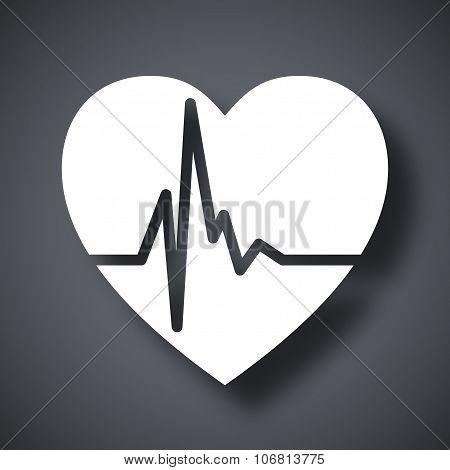 Vector Heart Cardiogram Icon