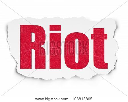 Politics concept: Riot on Torn Paper background