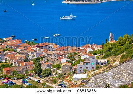 Vis Town And Bay Aerial View