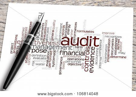 Close Up Pen And Audit Word Cloud
