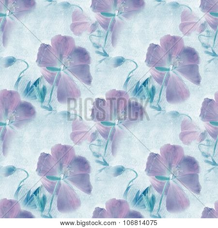 Seamless Pattern. Grungy Retro Background With Flowers.