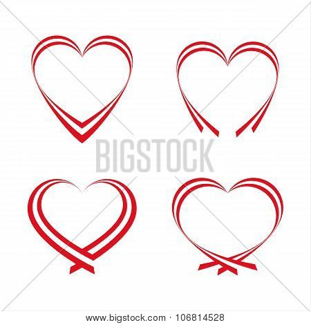 Set of simple red hearts