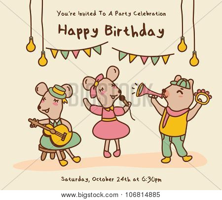 Birthday greeting card with cute cartoon animals