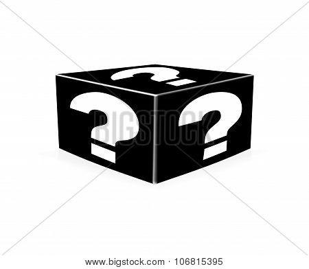 White Question Marks On Black Box. Illustration