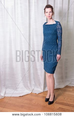 Portrait Attractive Woman In Blue Dress