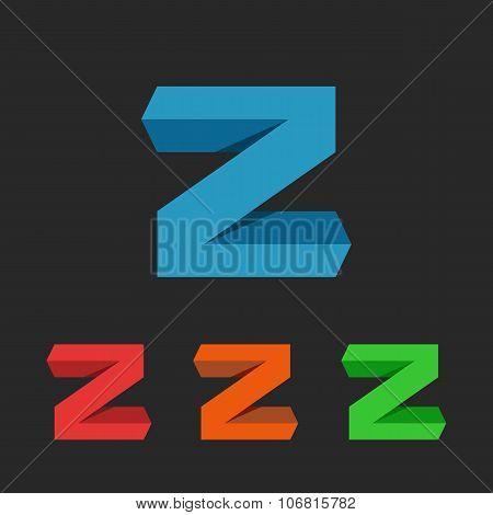 Z Letter App 3D Logo, Graphic Design Element For Web Application Or Emblem Tech Business Card