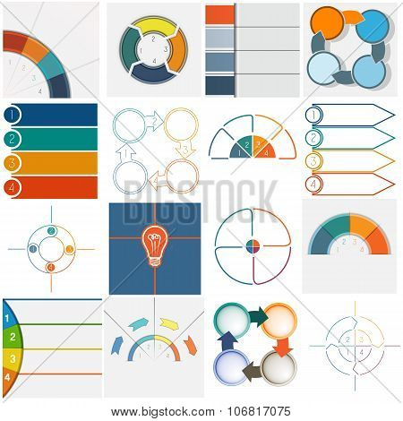 16 Templates Infographics Cyclic Processes Four Positions
