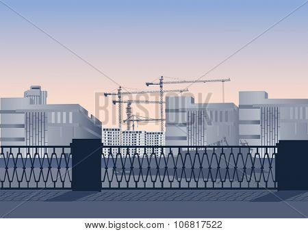 illustration with fence near building city