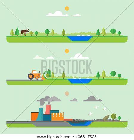 Gradual pollution. Construction of the plant. Destruction of wildlife. Flat style