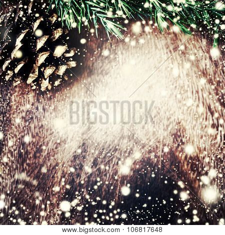 Christmas Decoration Over Grunge Background - Christmas Fir Tree On Dark Wooden Board With Falling S