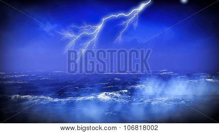 Lightning over misty ocean at sunset