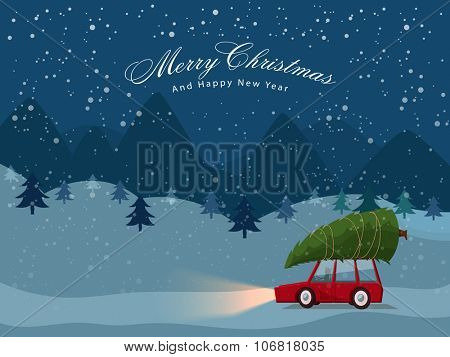Man carries a Xmas Tree by the car on winter night background for Merry Christmas and Happy New Year celebrations.