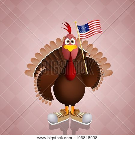 Funny Turkey With American Flag