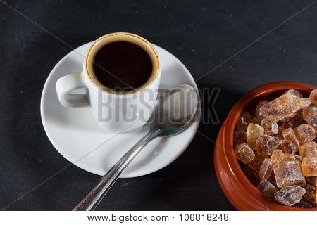Expresso Coffee With German Rock Sugar Brauner Kandis In Bowl