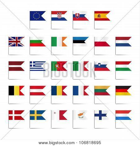 Set of colored mini flags