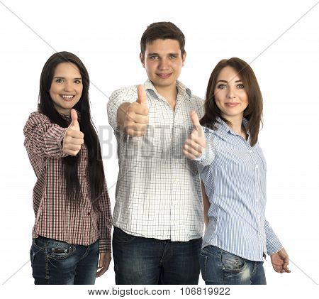 Group of young people makes OK gesture