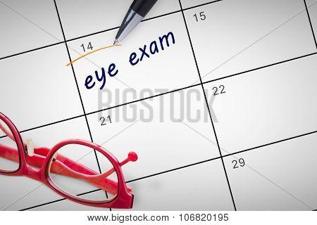 eye exam against january calendar