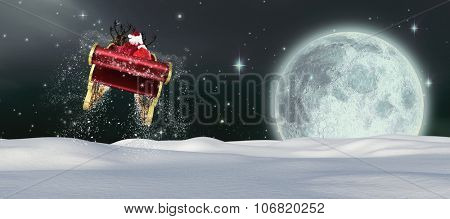 Santa flying his sleigh against full moon in the night sky