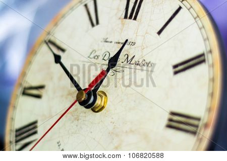 Zagreb, Croatia - January 31: Vintage Clock, Colse-up Shot In Studio In Zagreb, Croatia On January 3