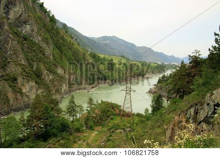 Siberia, Russia - June 11, 2012: Mountain River Katun, Altai Mountains, Russia