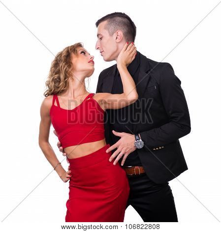 Young elegant loving couple portrait, isolated on white