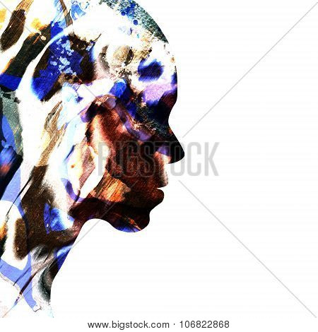 Abstract Female Face In Profile