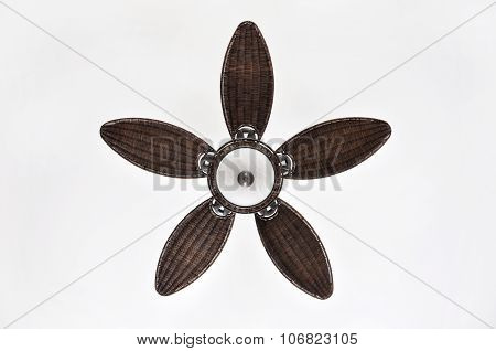 Pretty Brown Wicker Ceiling Fan with Light