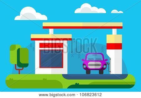 The car at a gas station. Outdoor landscape. Vector flat cartoon illustration.
