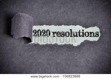2020 Resolutions Word Under Torn Black Sugar Paper