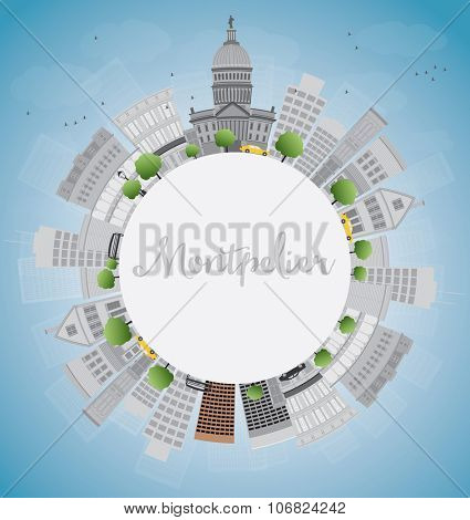 Montpelier (Vermont) city skyline with grey buildings and copy space. Business travel and tourism concept with place for text. Image for presentation, banner, placard and web site. Vector illustration
