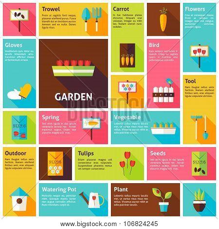 Flat Design Vector Icons Infographic Spring Nature Garden Concept