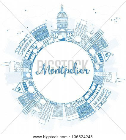 Outline Montpelier (Vermont) city skyline with blue buildings and copy space. Business travel and tourism concept with place for text. Image for presentation, banner, placard. Vector illustration